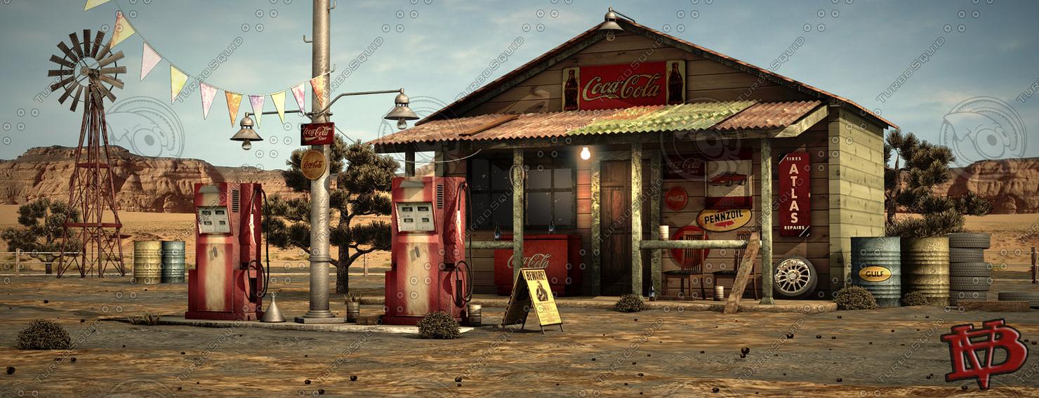 3ds max desert gas station