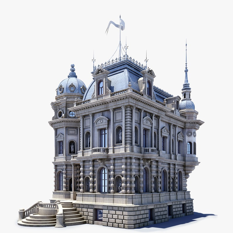 3d model mansion ancient