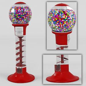 3d gumball machine gum model