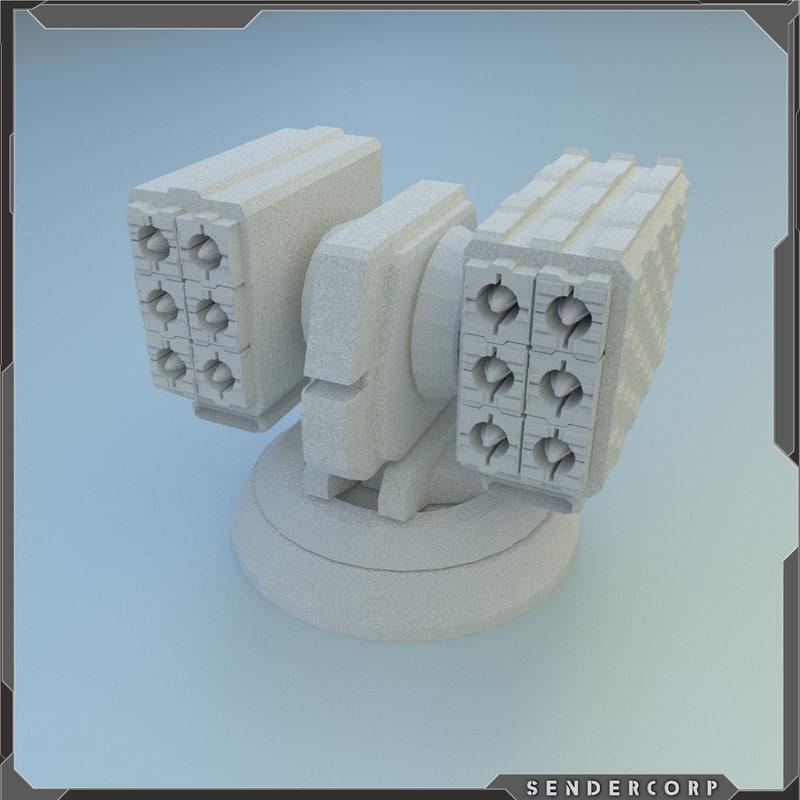3d scifi turret