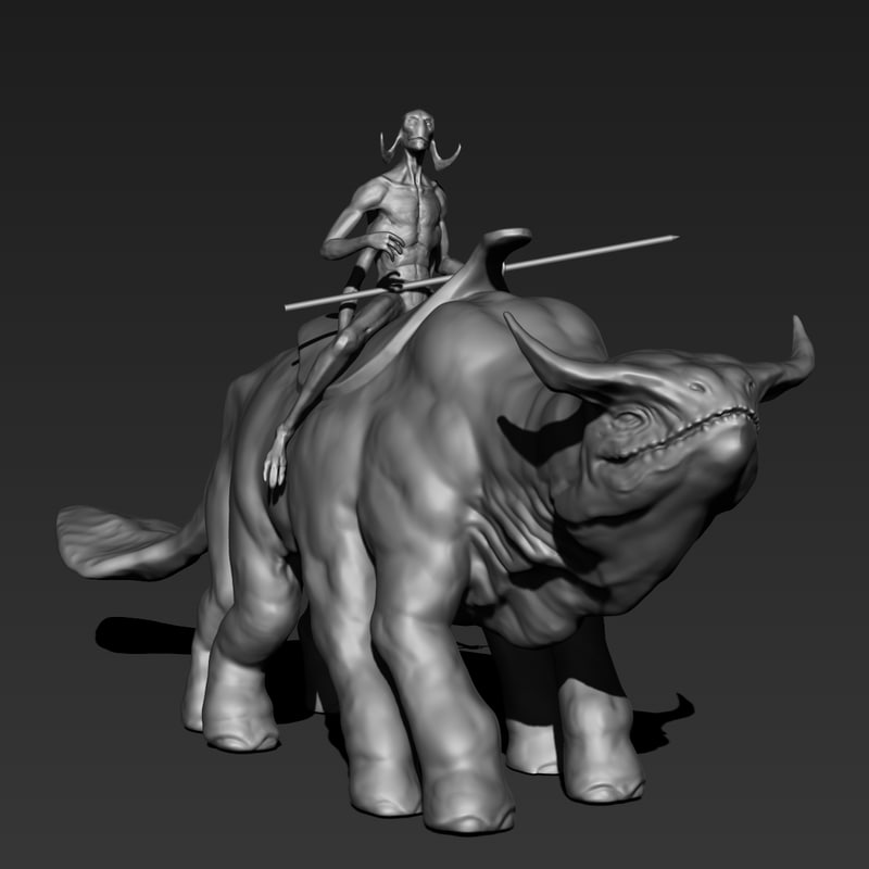 printable thoat rider sculpture obj free