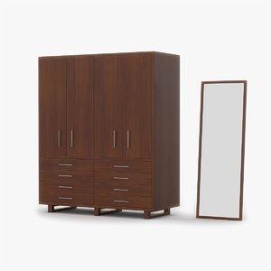 3d model of closet cherry wood