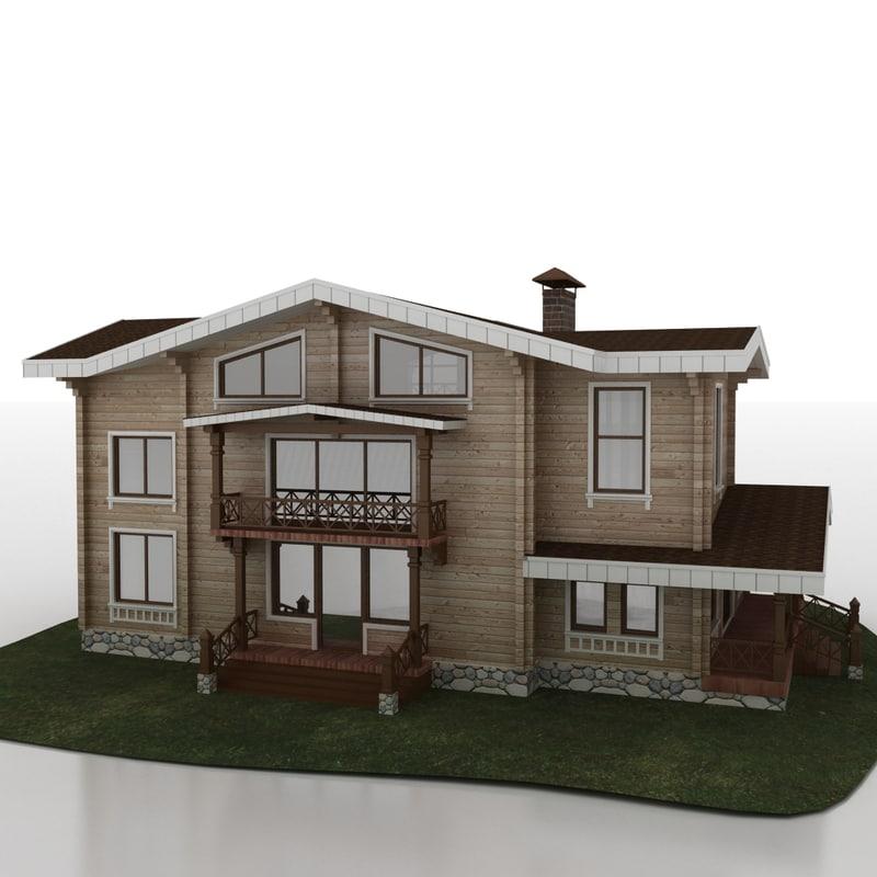 cottage wooden 3d 3ds