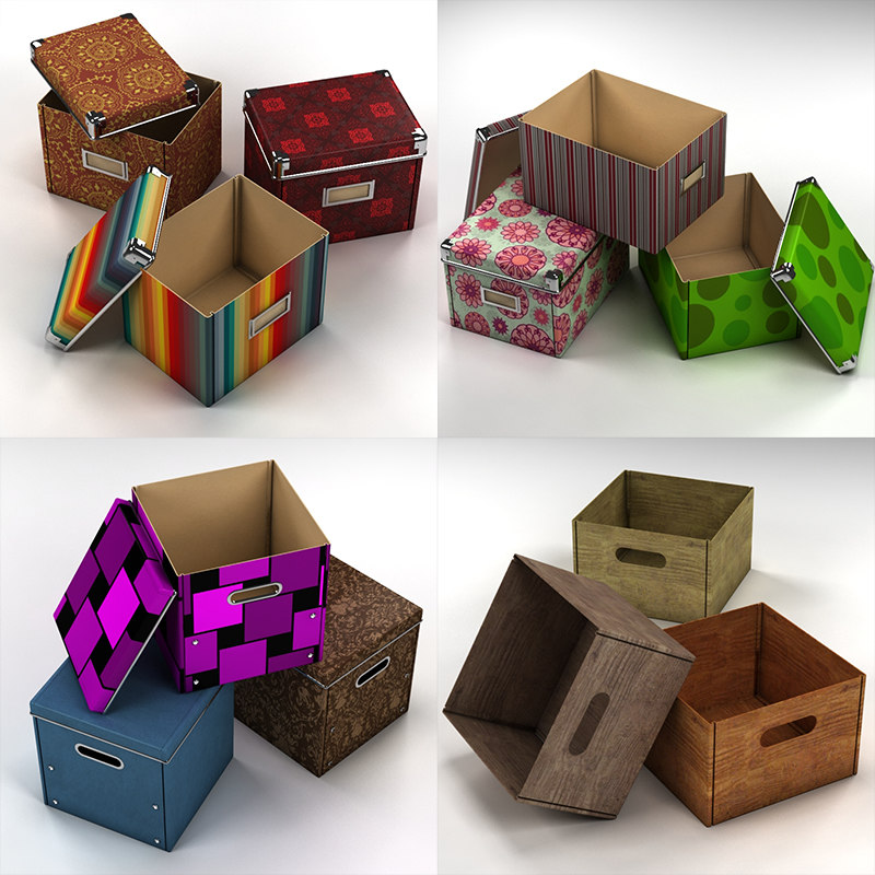 boxes office shelves 3d model