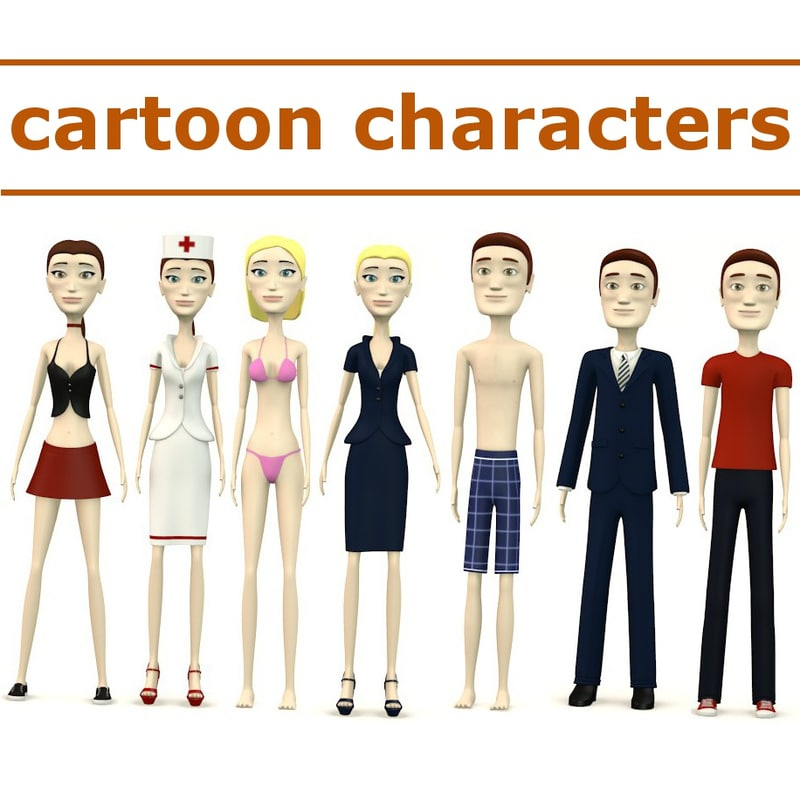 3d tom cindy cartoon characters model
