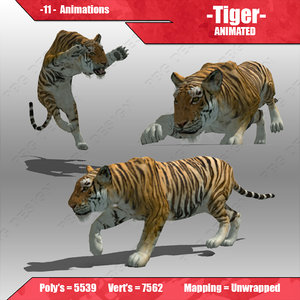 3d model tiger animations