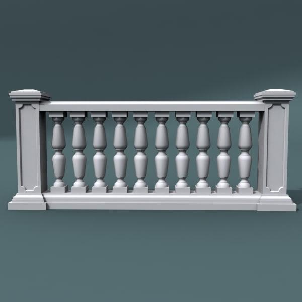 3d model balustrade architectural