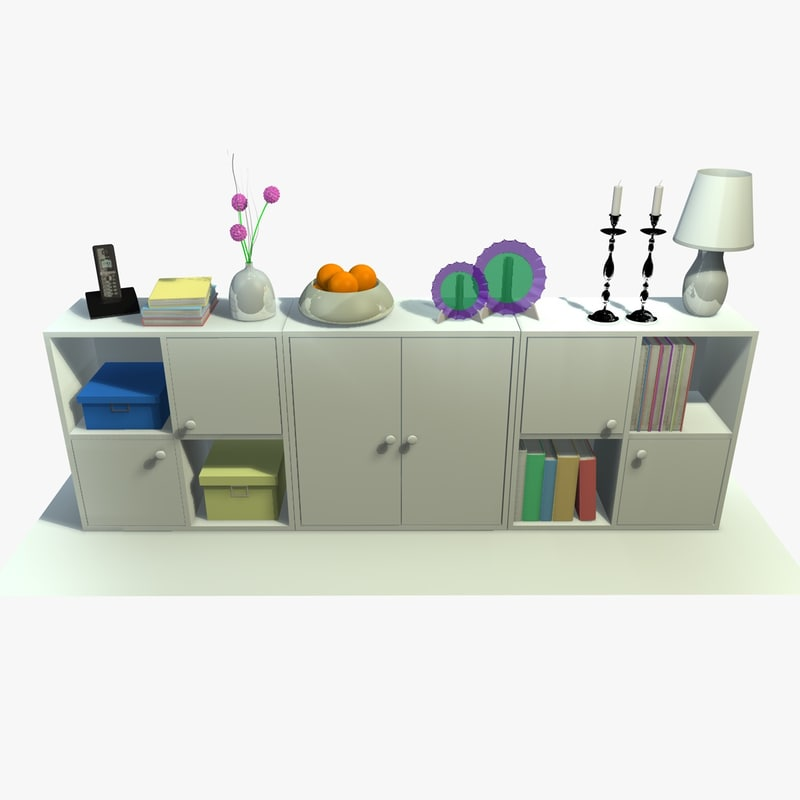 white cabinet decor 3ds