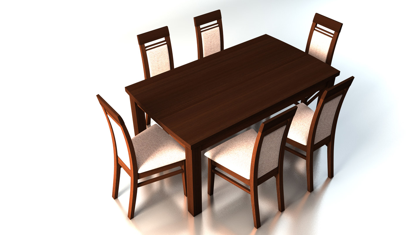 3d dining table chairs model