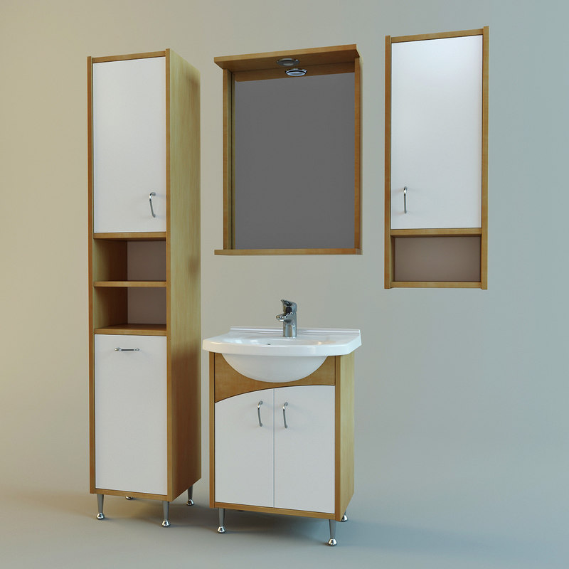 Set Bathroom Furniture Vanity 3d Model