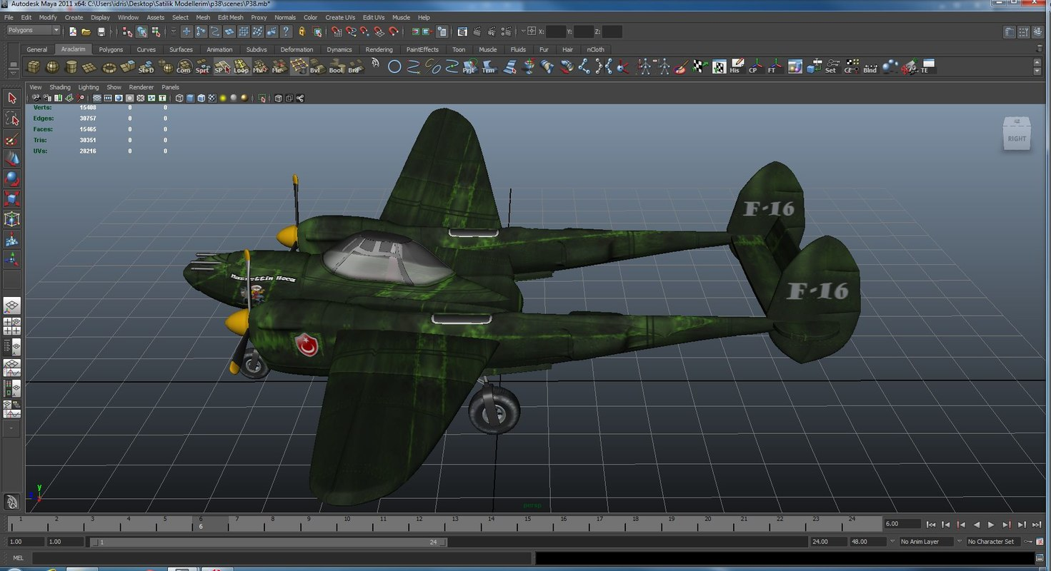 maya p38 lighting rigged