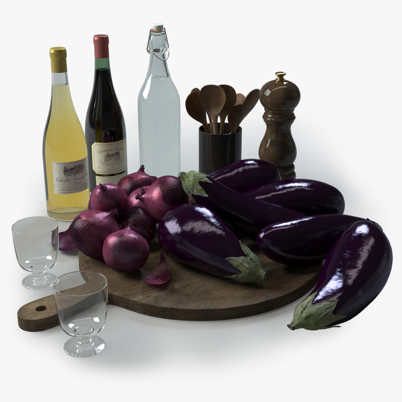 3d kitchen eggplants aubergine model