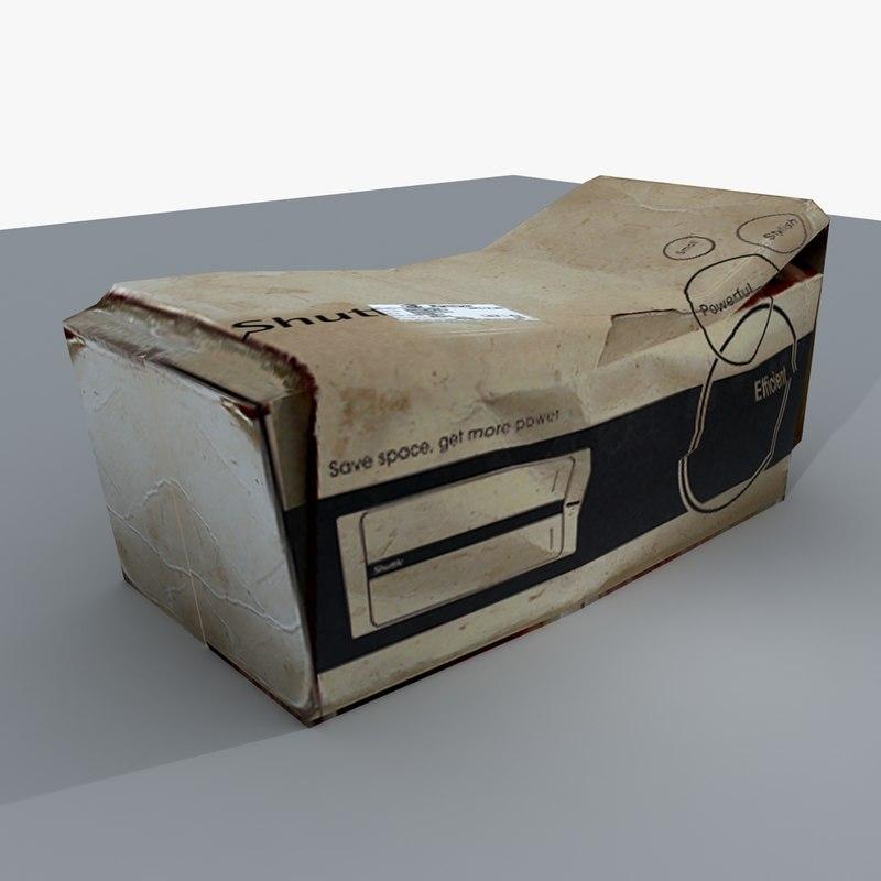 3ds max squashed cardboard box