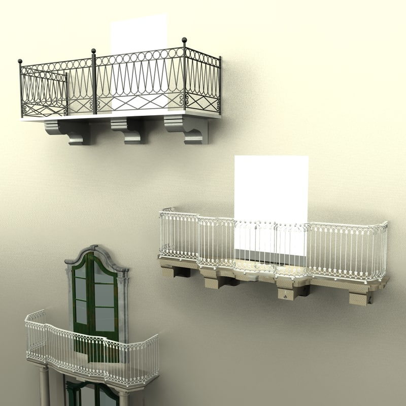 Renaissance balcony set 3d max for Balcony models