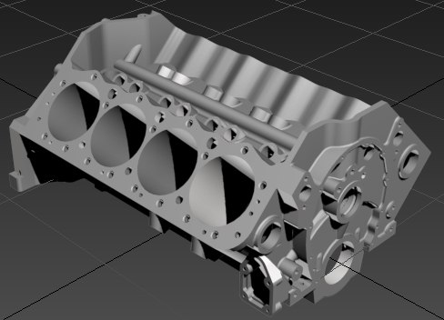 3d model v8 block engine