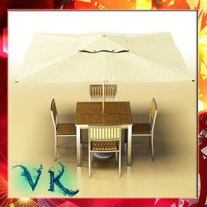 3d model bar table chair parasol