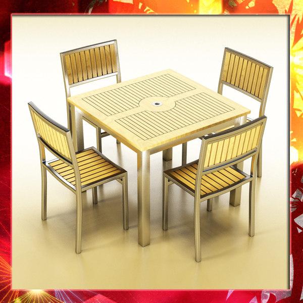 3d bar table chair model