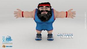 captain shady man 3d max