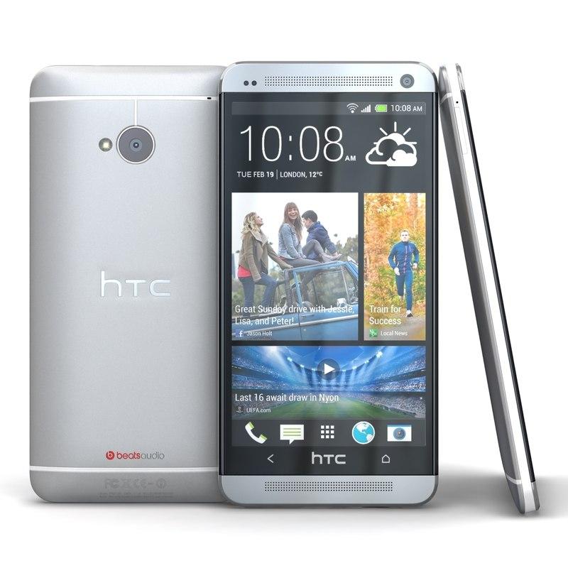 htc silver cellphone 3d model