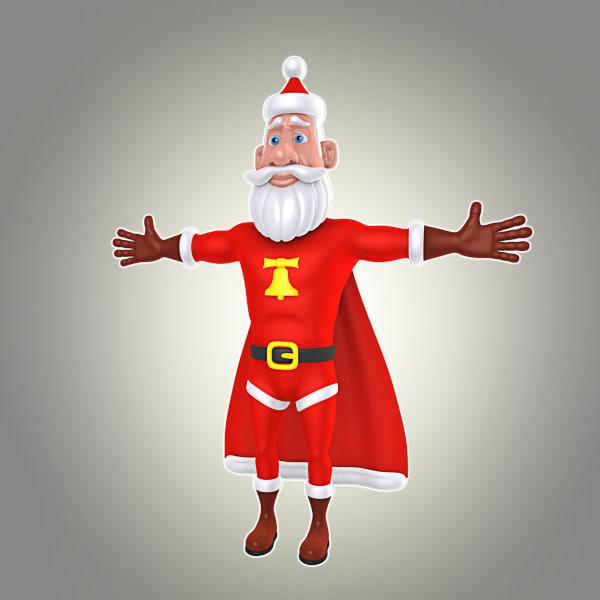 cartoon super santa 3d max