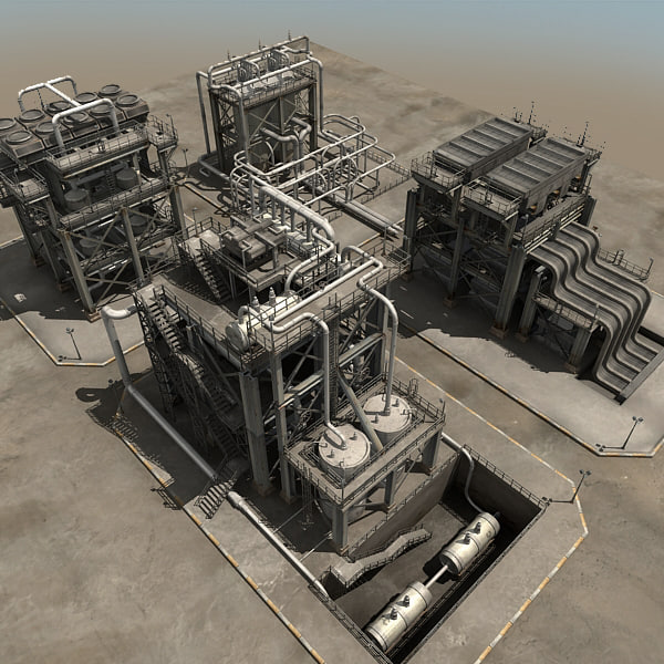 refinery towers 3d model