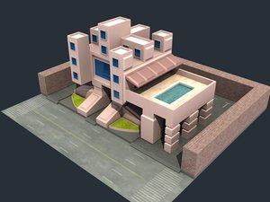 modern castle 3d model