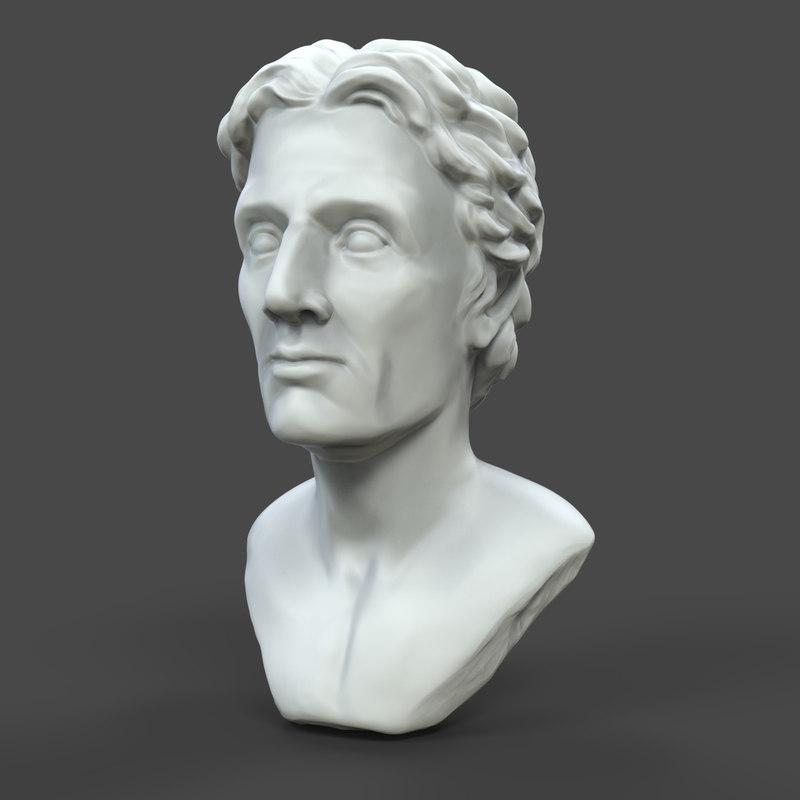 printable alexander bust obj