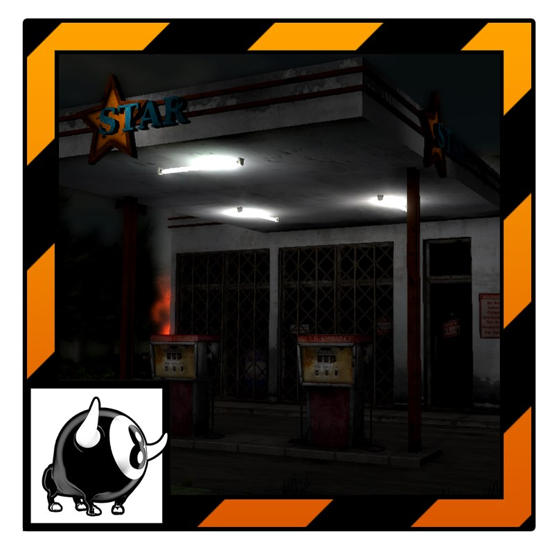 3d unity abandoned gas station model