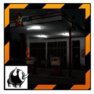3d unity abandoned gas station model