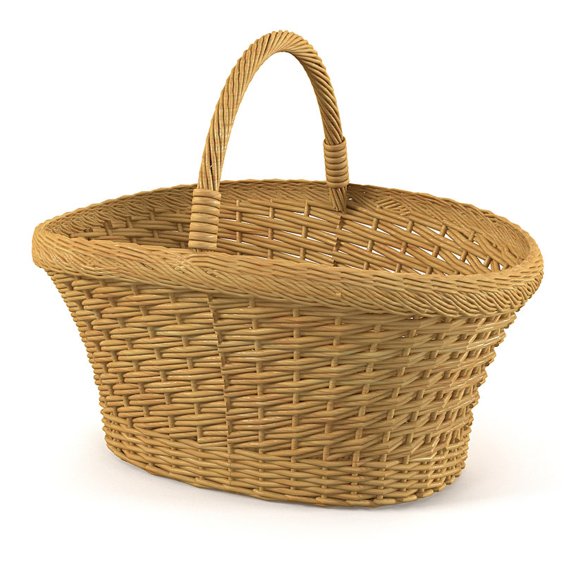 wicker basket traditional 3d model