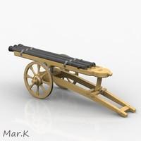 3d model triple barrel cannon