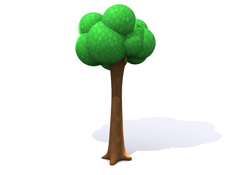 3ds tall simple cartoon tree