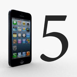 phone 5 black 3d model
