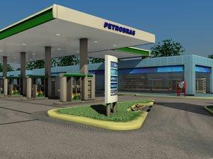 petrobras gas station 3d model