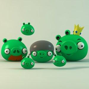 pigs enemies angry birds c4d