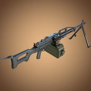 p pecheneg machine gun 3d model