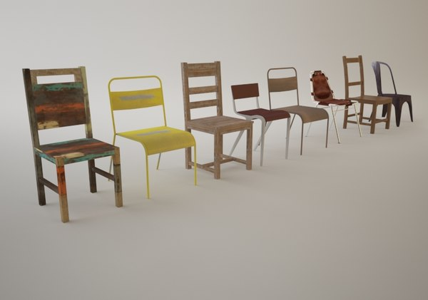 3d vintage dining chairs model