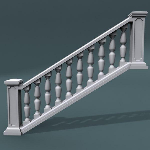 staircase balustrade 3d model