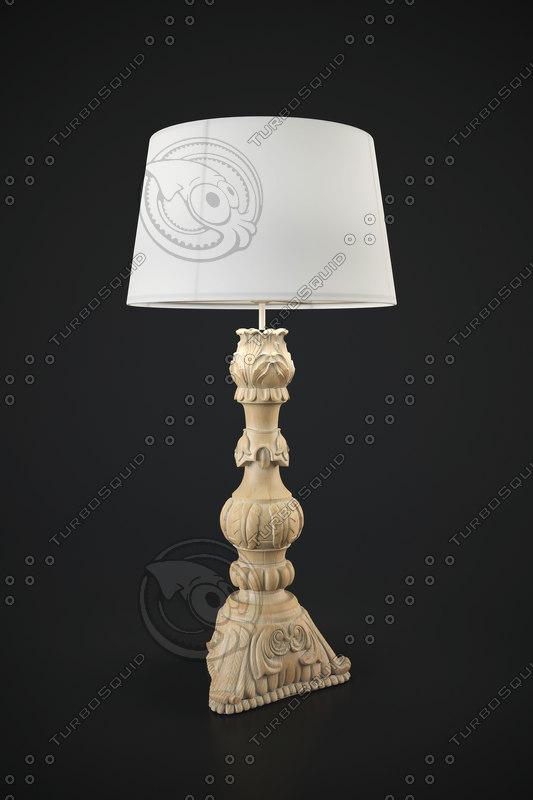 wooden lampbase noto 3d max