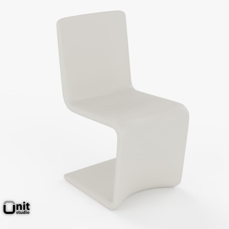 3d model venere chair bonaldo leather