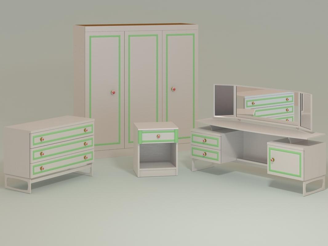 3d model furniture dresser storage