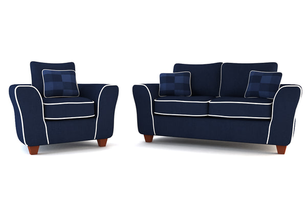 3ds max blue arm chair sofa set