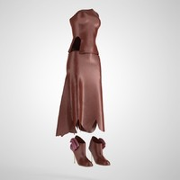 3d dress leather model