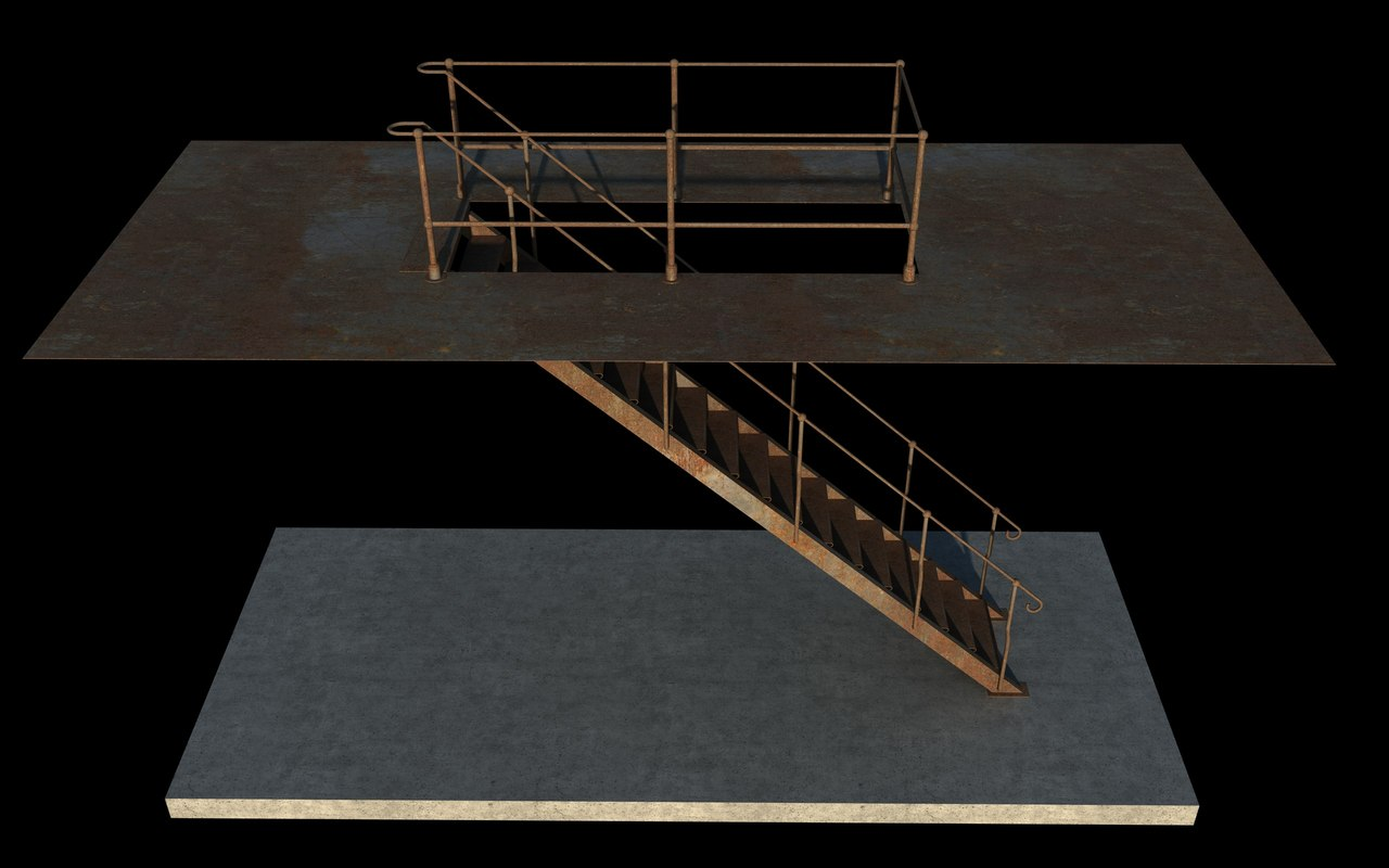 industrial rusty iron stair