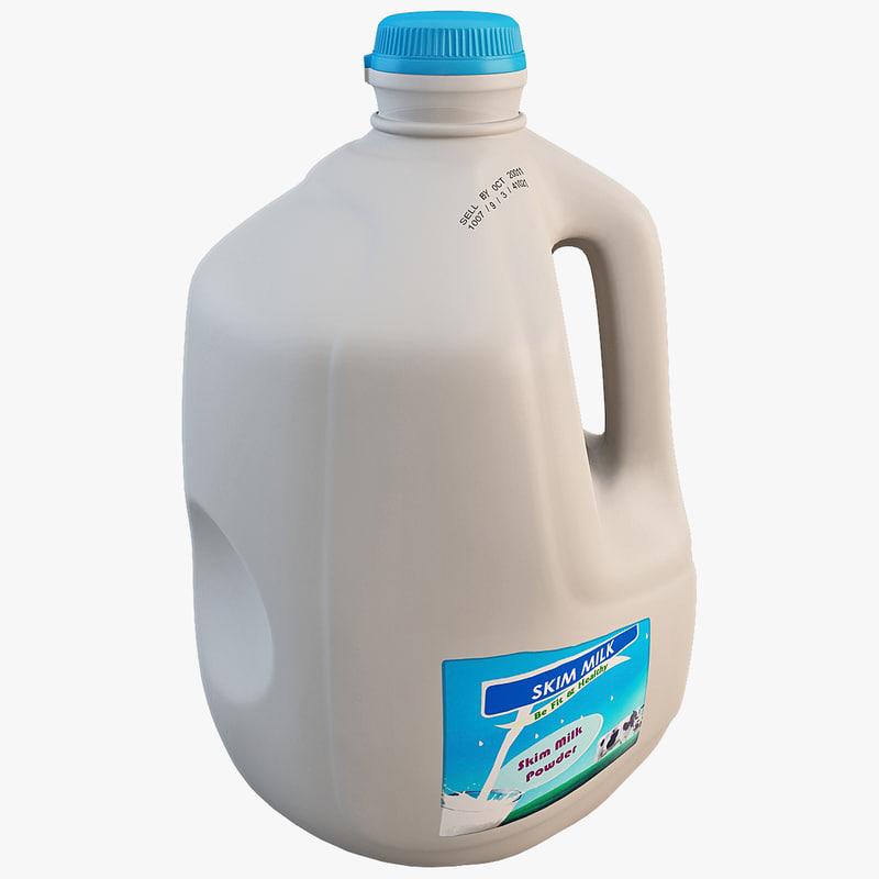 3d plastic milk bottle