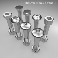 3d model bolts nut rusted