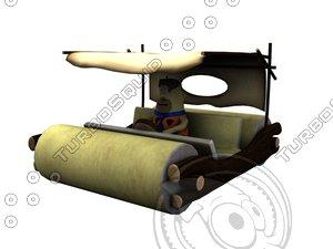 3d model flintstone car