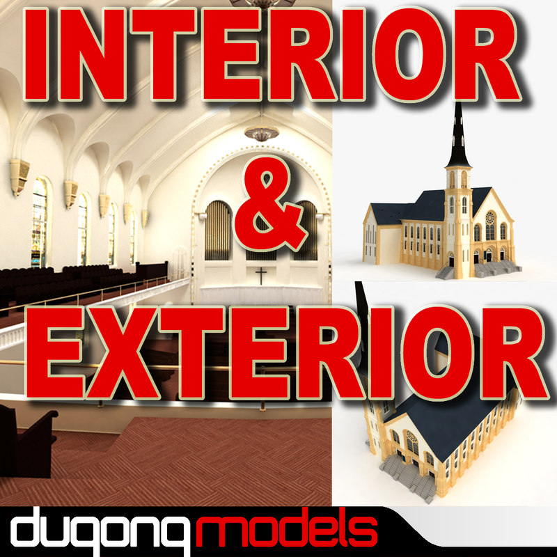 3d baptist church interior exterior model
