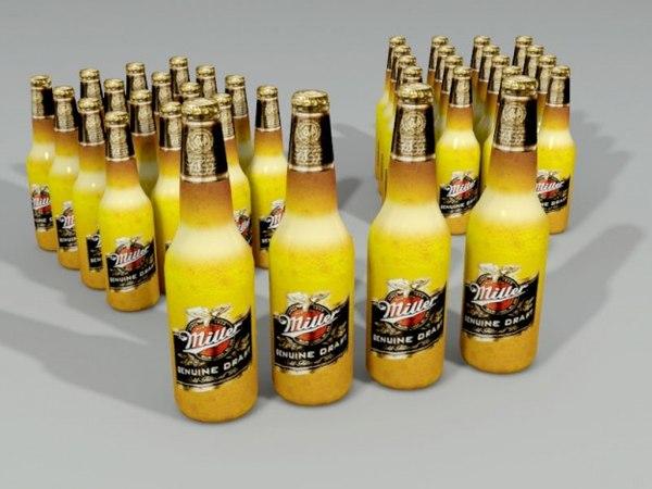 bottle miller beer 3d max