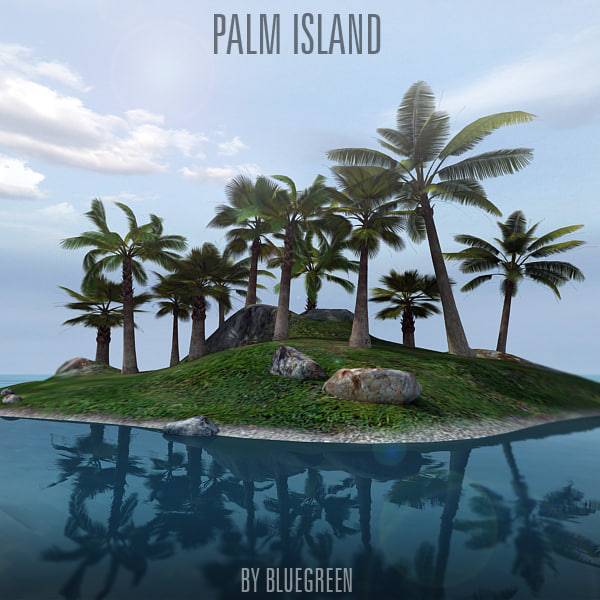 3d lonely island palm trees
